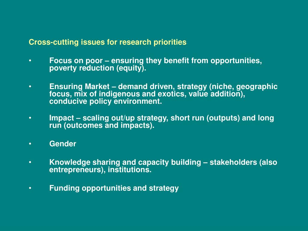 Cross-cutting issues for research priorities
