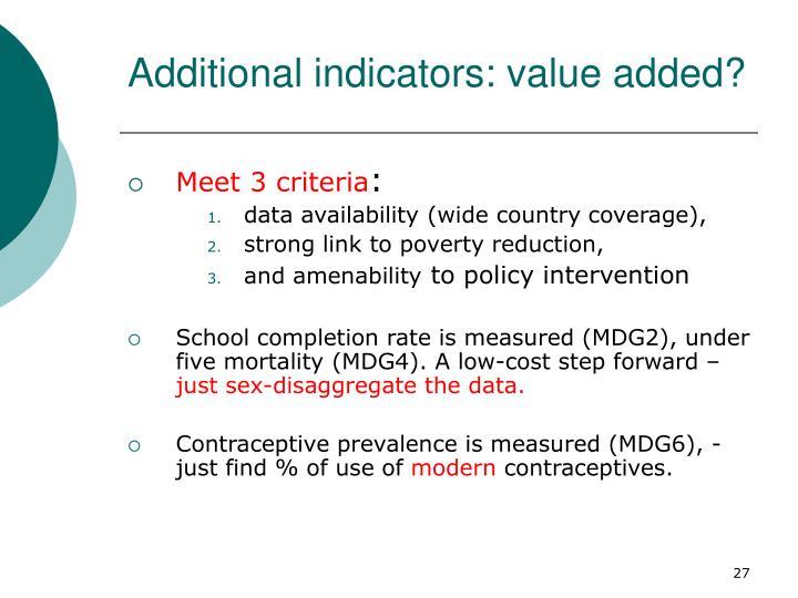 Additional indicators: value added?
