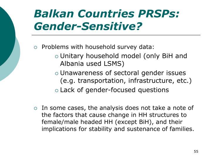 Balkan Countries PRSPs: Gender-Sensitive?