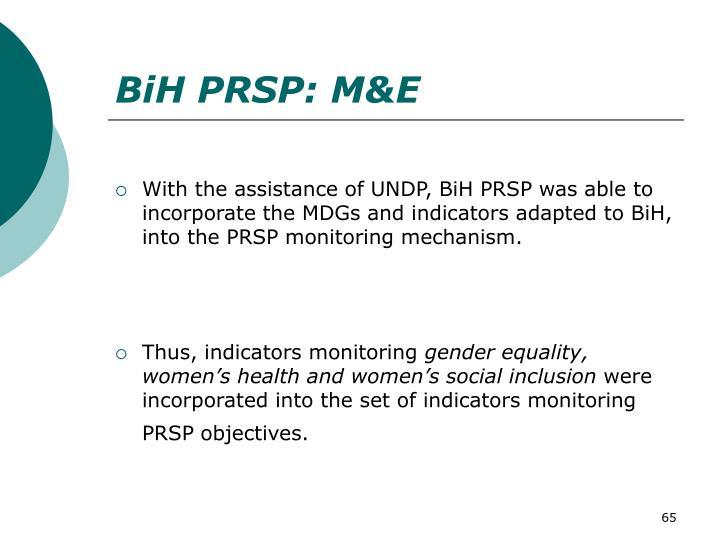 BiH PRSP: M&E