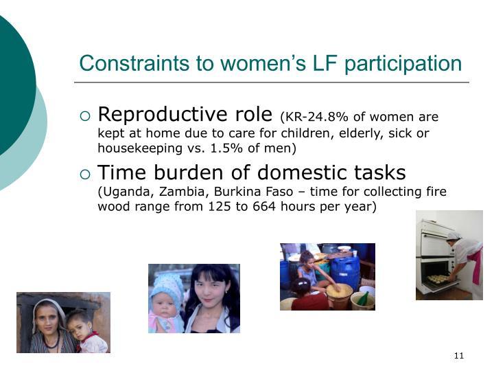 Constraints to women's LF participation