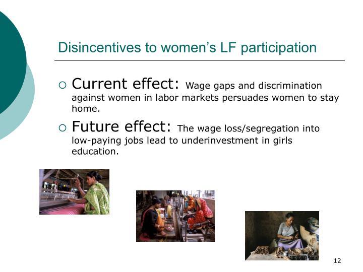 Disincentives to women's LF participation