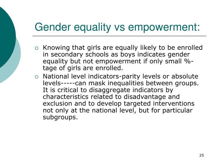 Gender equality vs empowerment: