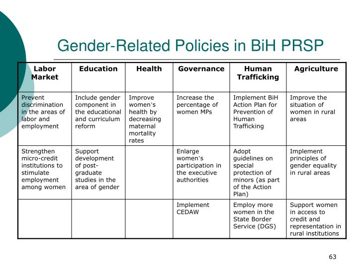 Gender-Related Policies in BiH PRSP