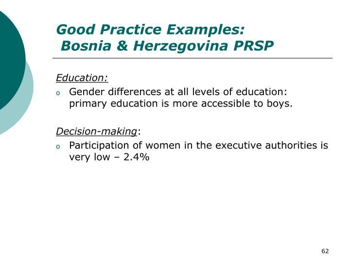 Good Practice Examples: