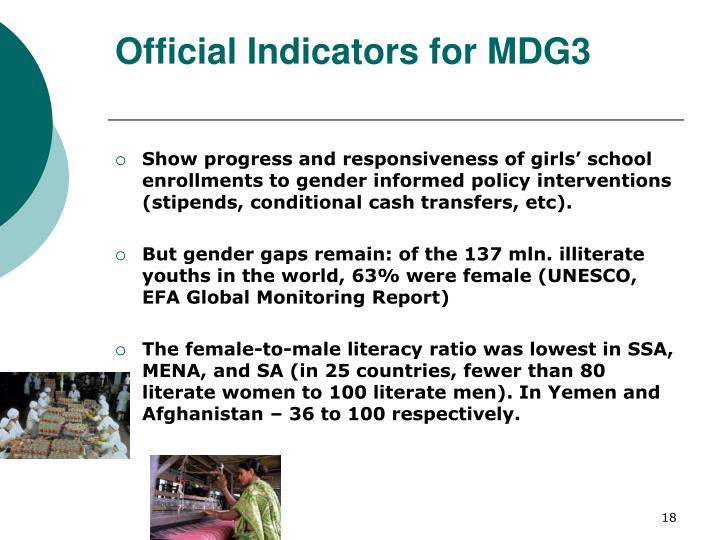 Official Indicators for MDG3