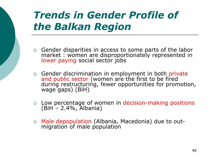 Trends in Gender Profile of the Balkan Region