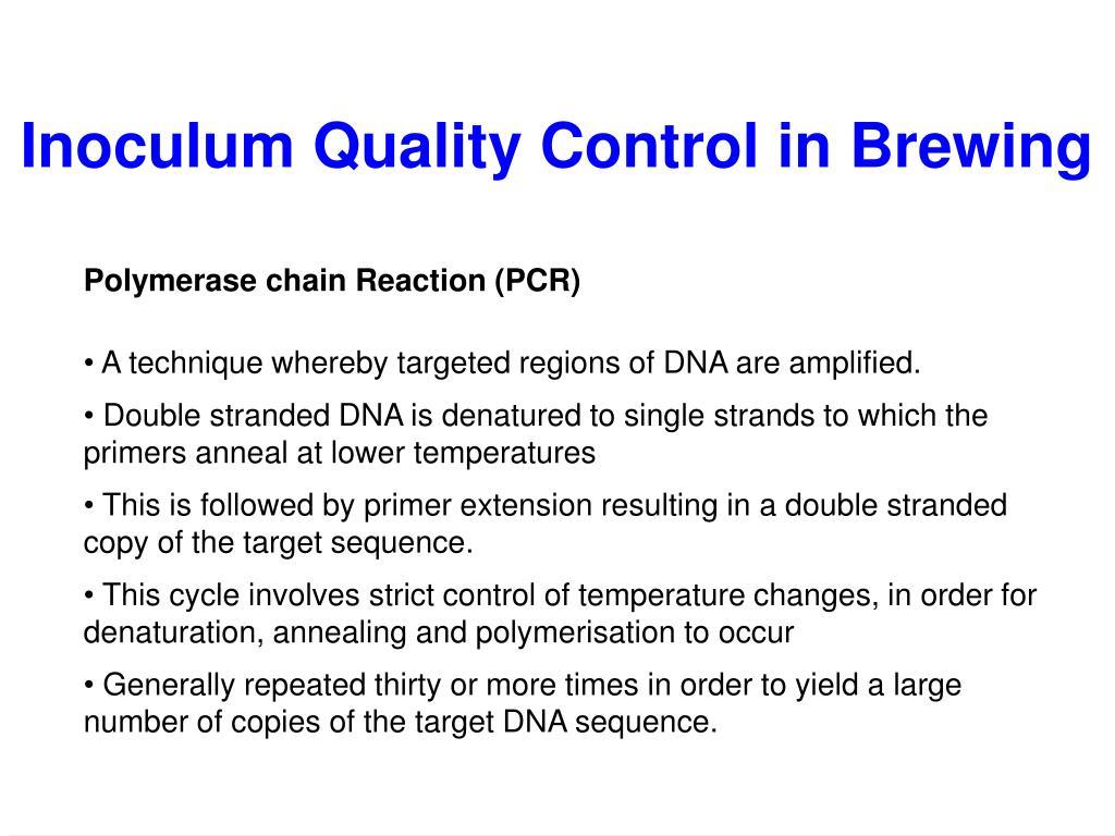 Inoculum Quality Control in Brewing