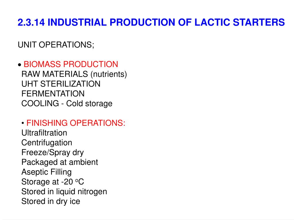 2.3.14 INDUSTRIAL PRODUCTION OF LACTIC STARTERS