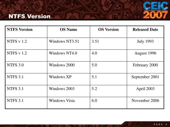 NTFS Version