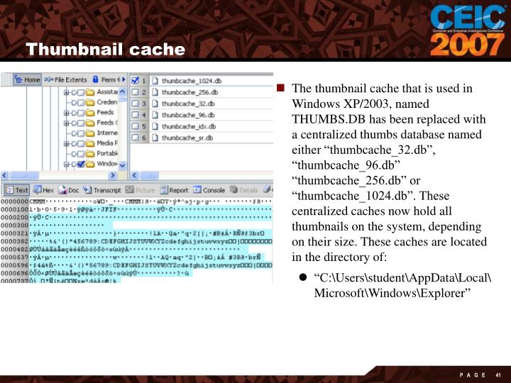 Thumbnail cache