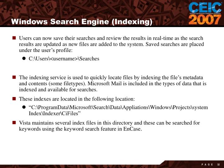 Windows Search Engine (Indexing)