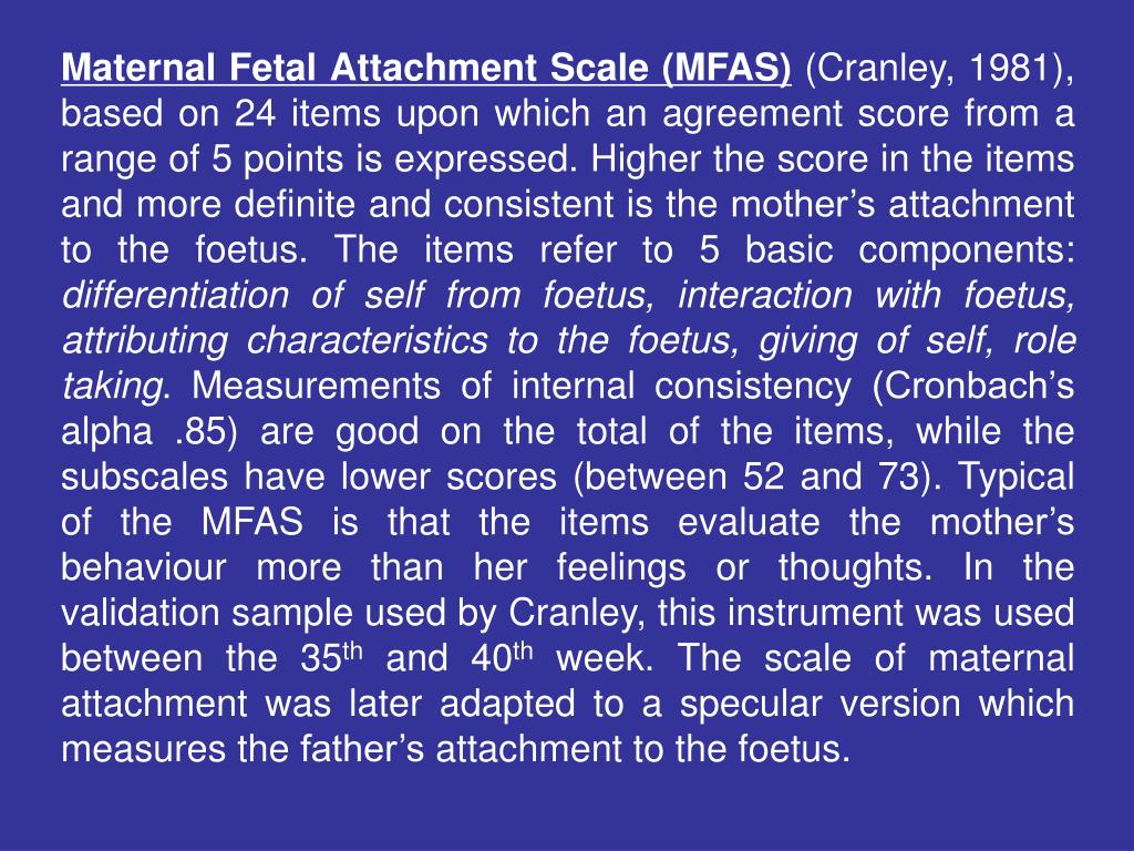 Maternal Fetal Attachment Scale (MFAS)