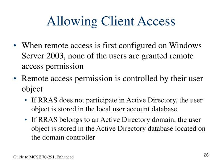 Allowing Client Access