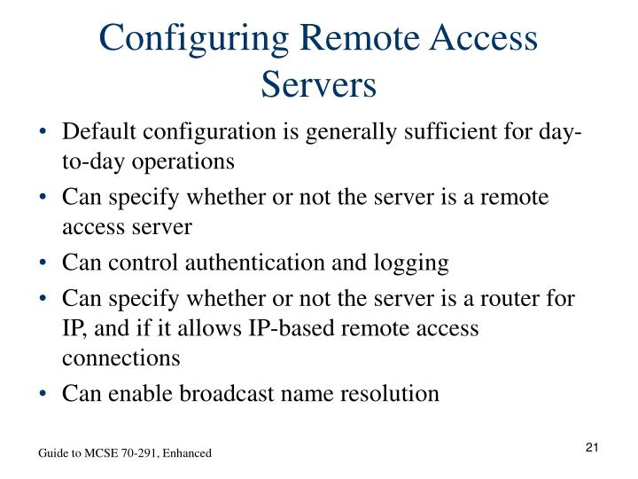 Configuring Remote Access Servers