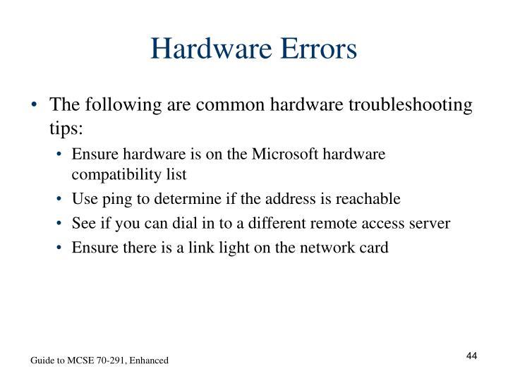 Hardware Errors