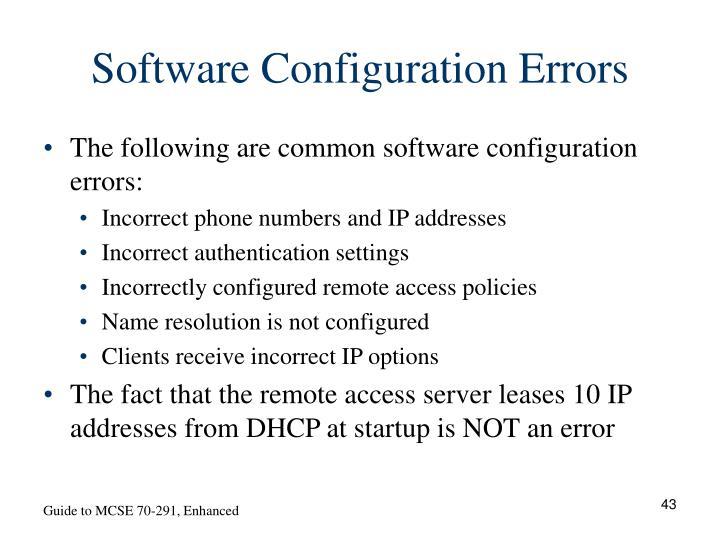 Software Configuration Errors