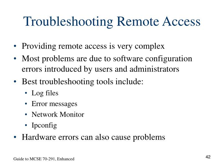 Troubleshooting Remote Access