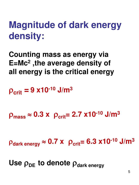 Magnitude of dark energy