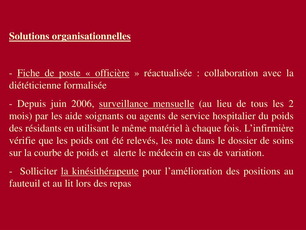 Solutions organisationnelles