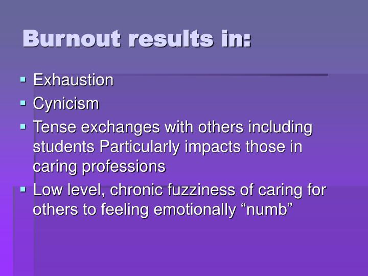 Burnout results in:
