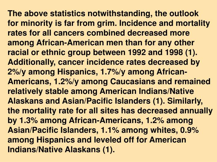 The above statistics notwithstanding, the outlook  for minority is far from grim. Incidence and mortality rates for all cancers combined decreased more among African-American men than for any other racial or ethnic group between 1992 and 1998 (1). Additionally, cancer incidence rates decreased by 2%/y among Hispanics, 1.7%/y among African-Americans, 1.2%/y among Caucasians and remained relatively stable among American Indians/Native Alaskans and Asian/Pacific Islanders (1). Similarly, the mortality rate for all sites has decreased annually by 1.3% among African-Americans, 1.2% among Asian/Pacific Islanders, 1.1% among whites, 0.9% among Hispanics and leveled off for American Indians/Native Alaskans (1).
