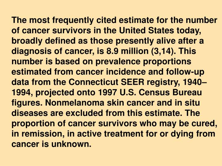 The most frequently cited estimate for the number of cancer survivors in the United States today, broadly defined as those presently alive after a diagnosis of cancer, is 8.9 million (3,14). This number is based on prevalence proportions estimated from cancer incidence and follow-up data from the Connecticut SEER registry, 1940–1994, projected onto 1997 U.S. Census Bureau figures. Nonmelanoma skin cancer and in situ diseases are excluded from this estimate. The proportion of cancer survivors who may be cured, in remission, in active treatment for or dying from cancer is unknown.
