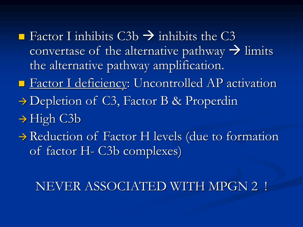 Factor I inhibits C3b