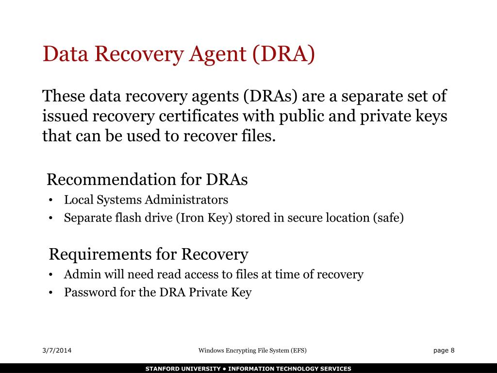 Data Recovery Agent (DRA)