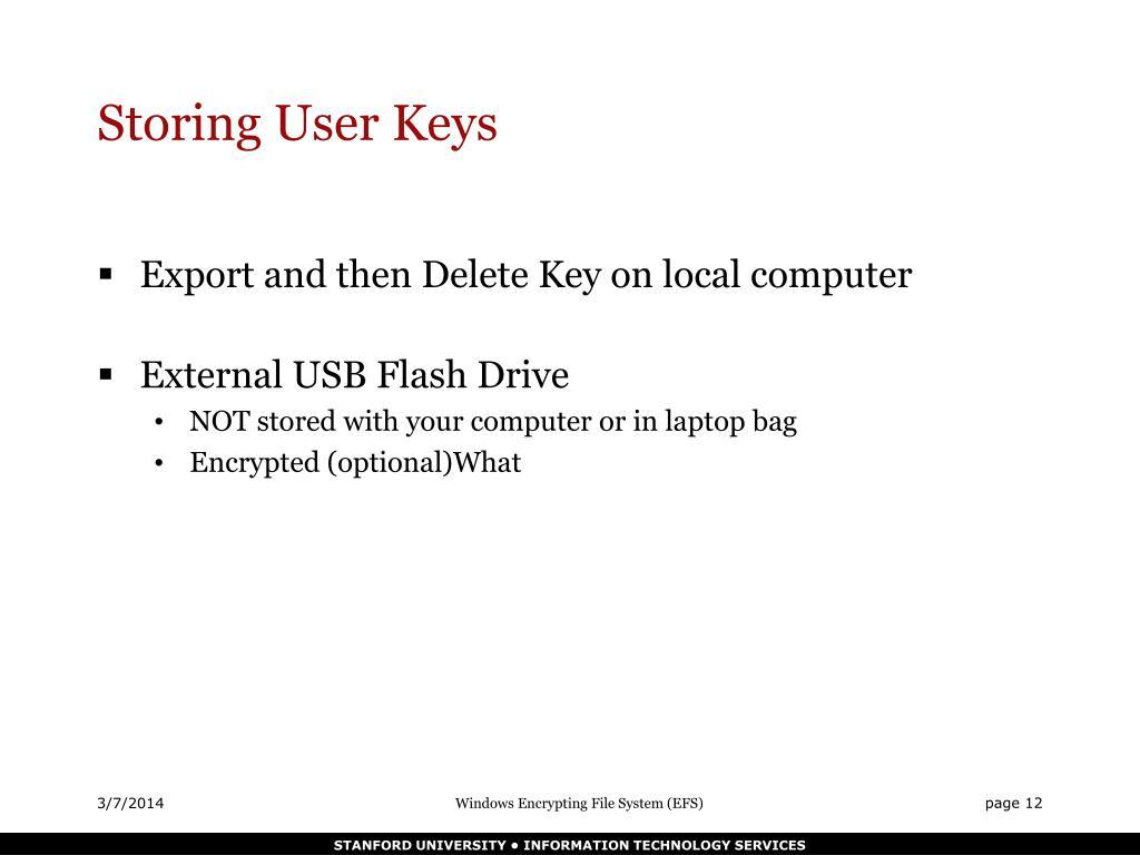 Storing User Keys