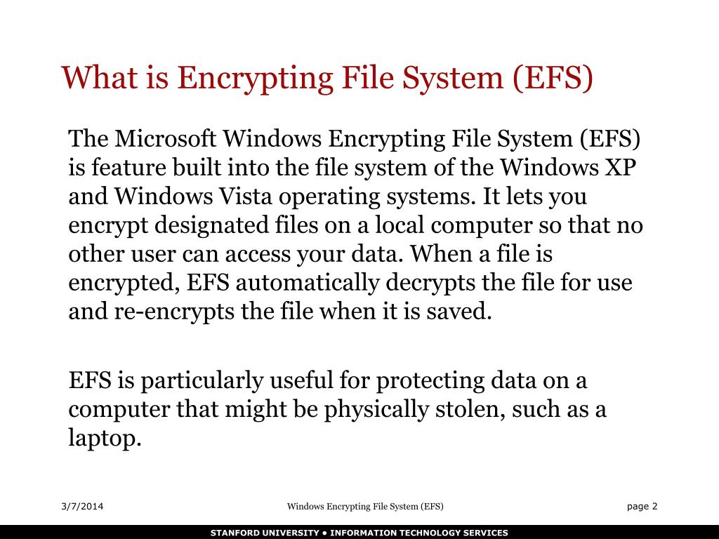 What is Encrypting File System (EFS)