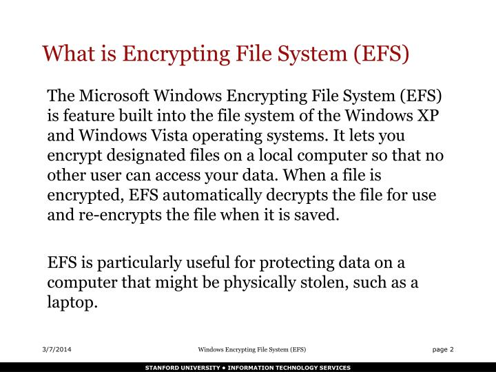 What is encrypting file system efs