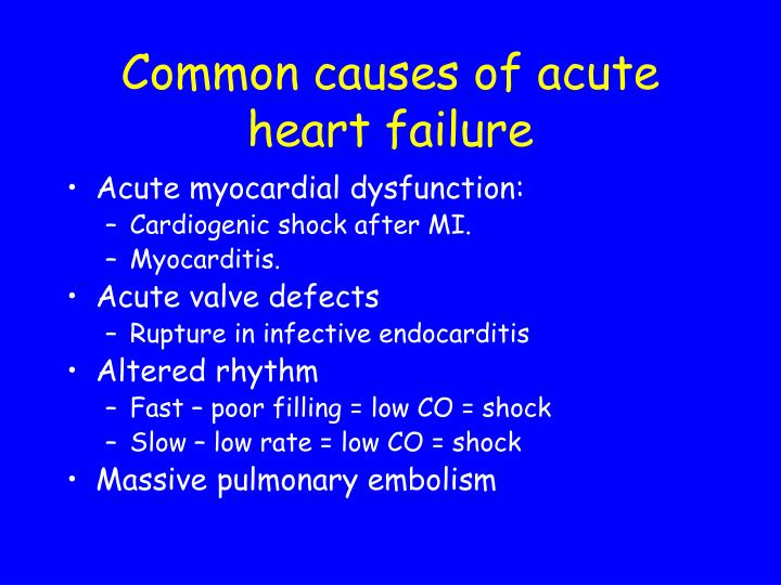 Common causes of acute heart failure