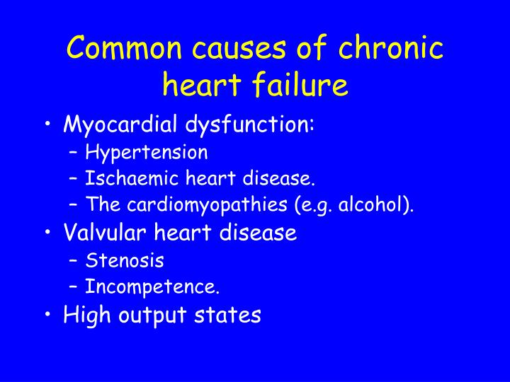 Common causes of chronic heart failure
