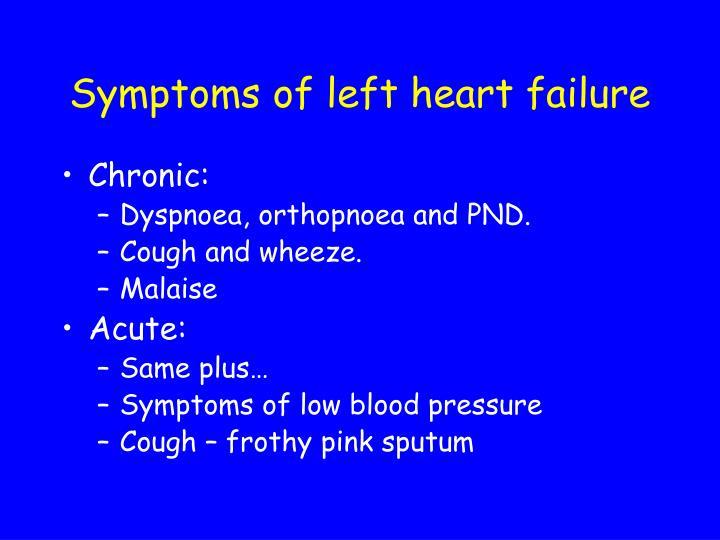 Symptoms of left heart failure