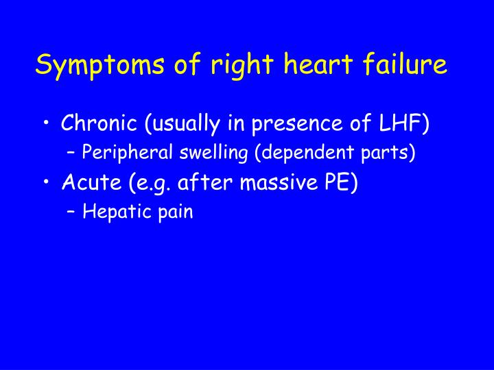 Symptoms of right heart failure