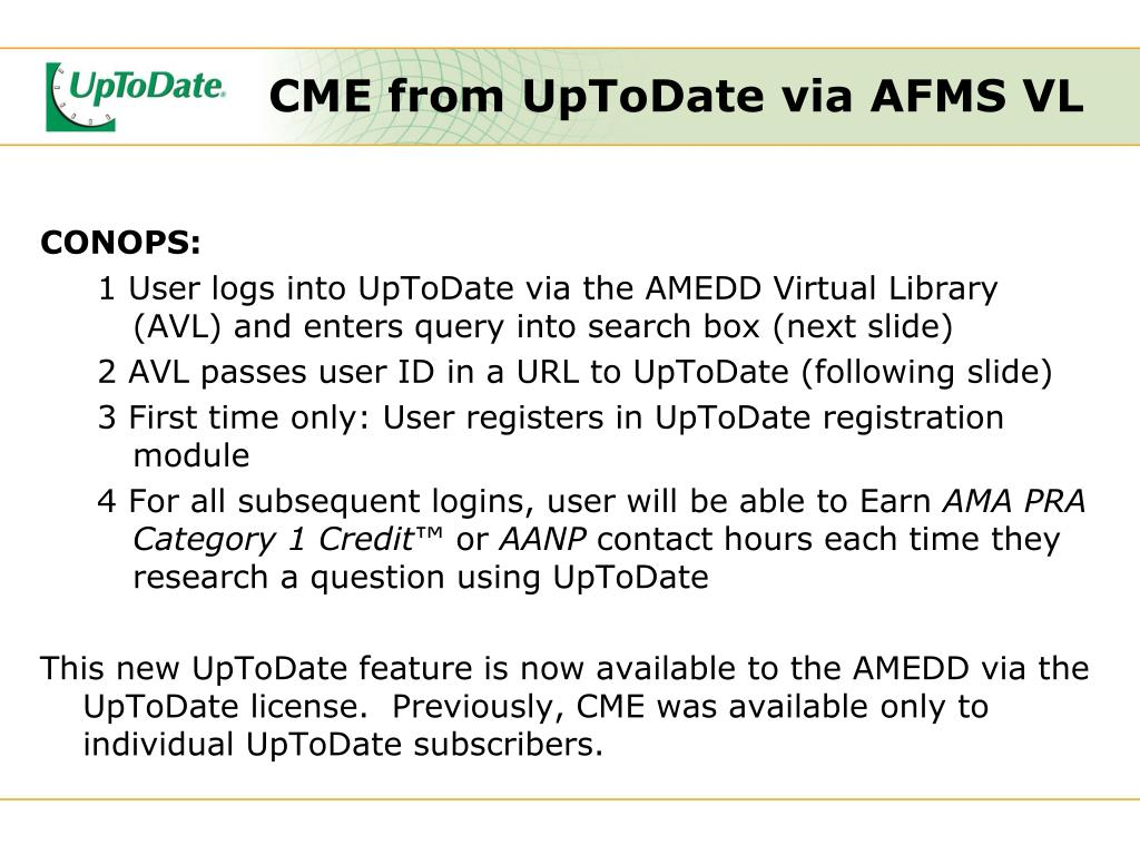 CME from UpToDate via AFMS VL