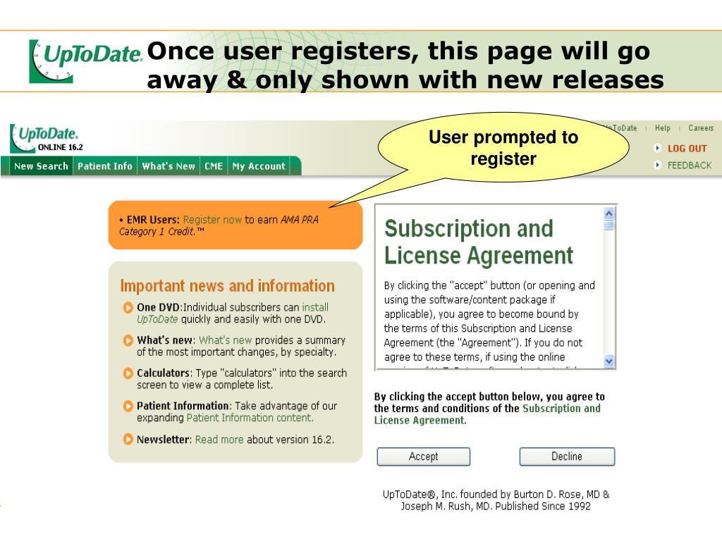 User prompted to register