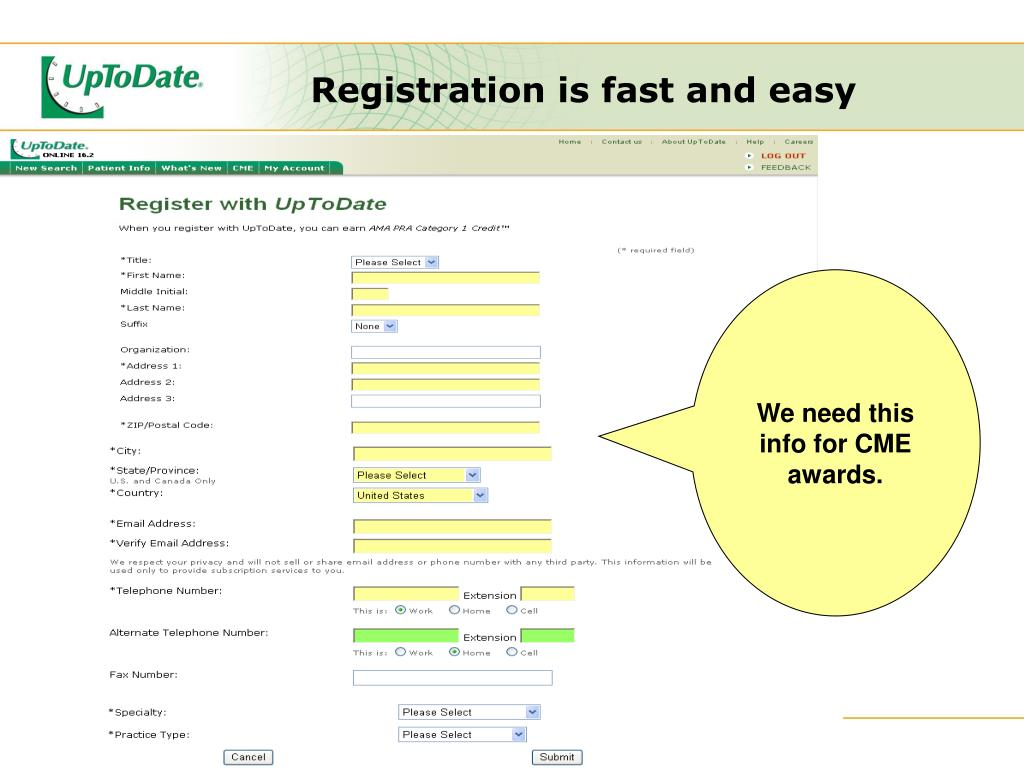 Registration is fast and easy