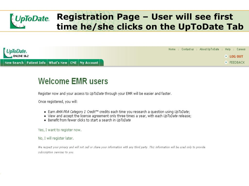 Registration Page – User will see first time he/she clicks on the UpToDate Tab
