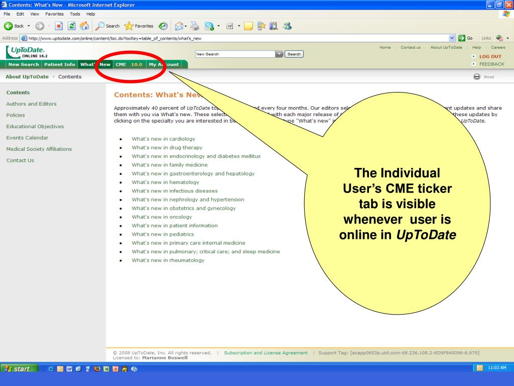 The Individual User's CME ticker tab is visible whenever  user is online in