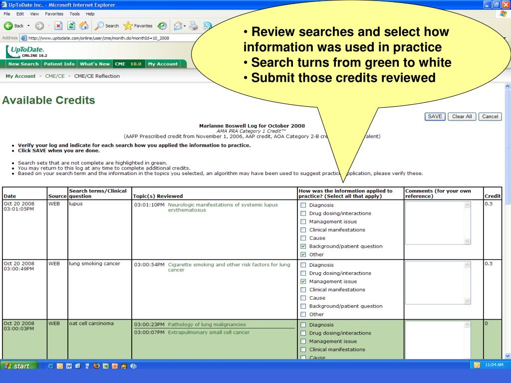 Review searches and select how   information was used in practice
