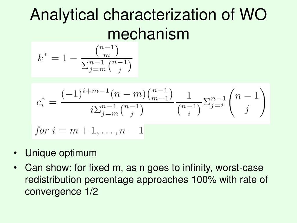 Analytical characterization of WO mechanism