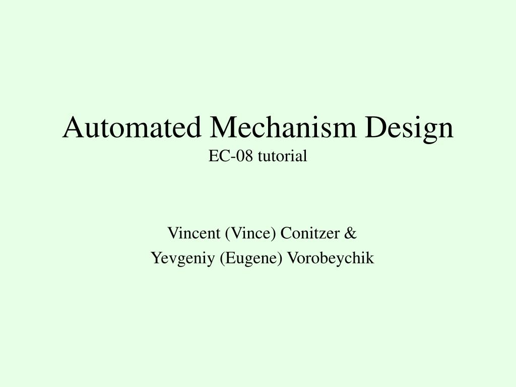 automated mechanism design ec 08 tutorial