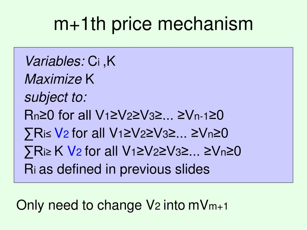 m+1th price mechanism