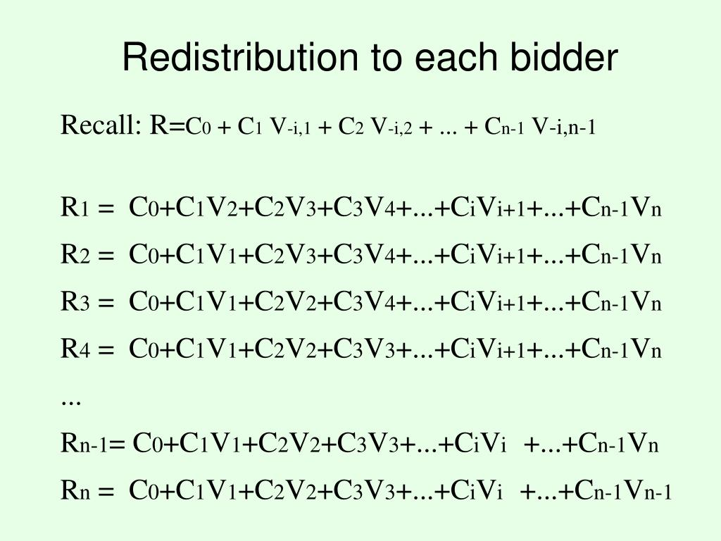 Redistribution to each bidder