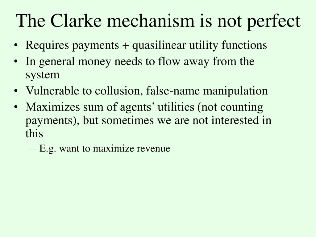 The Clarke mechanism is not perfect