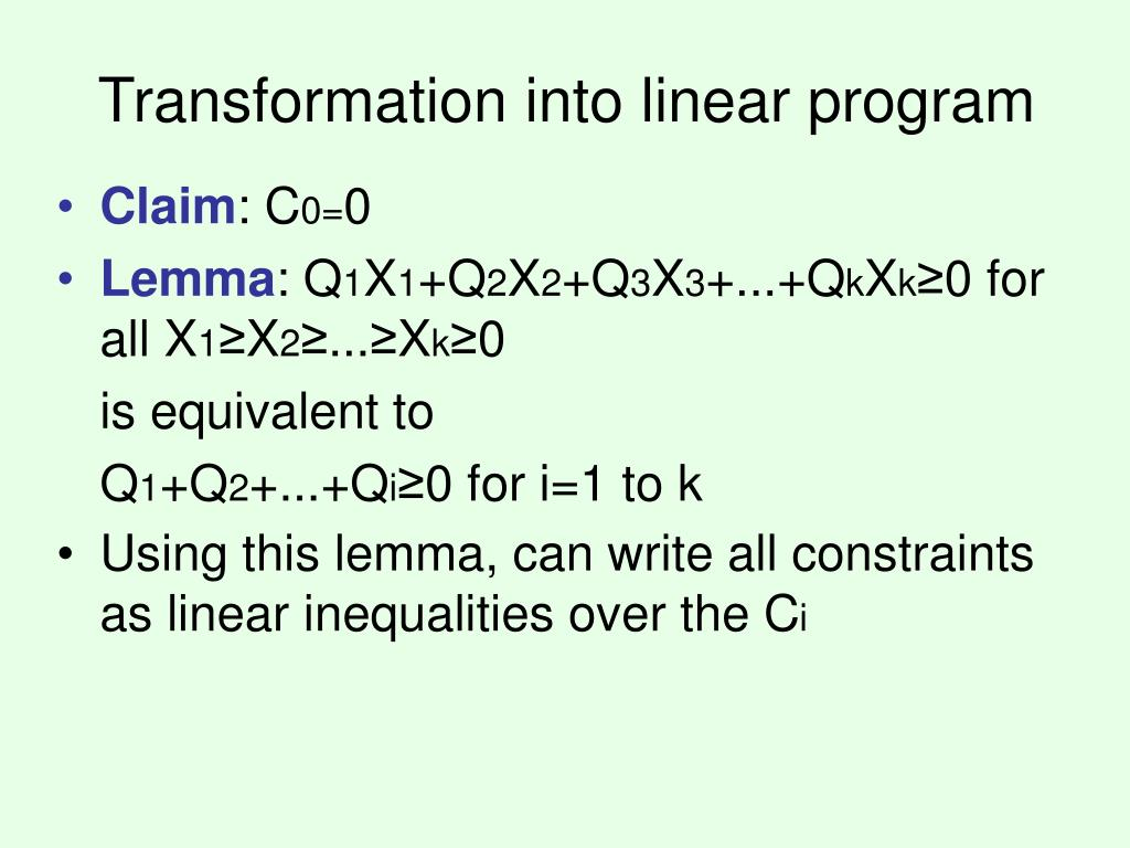 Transformation into linear program