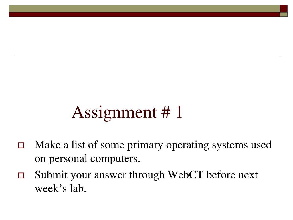 Assignment # 1