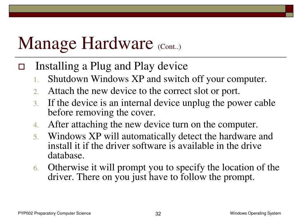 Manage Hardware